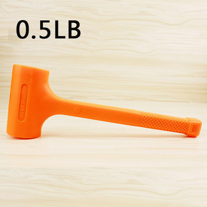 Solid Hammer Dead Blow Mallet Orange Soft Rubber Unicast Hammer 0.5-2LB 0.5LB