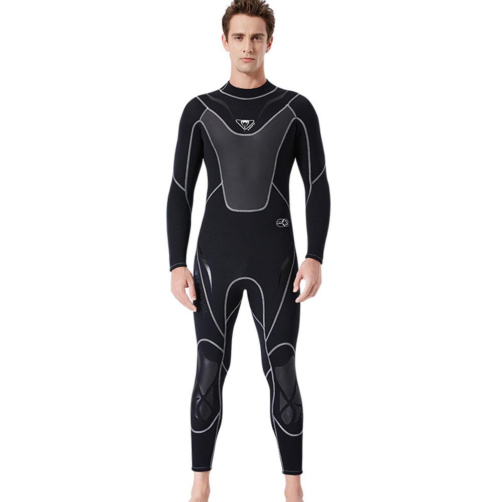 3MM Diuving Suit Men Wet-type Siamese Warm Long Sleeve Cold-proof WInter Surfing Swimwear black_XXL