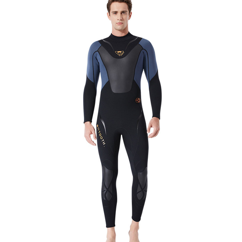 3MM Diuving Suit Men Wet-type Siamese Warm Long Sleeve Cold-proof WInter Surfing Swimwear Black/grey_M