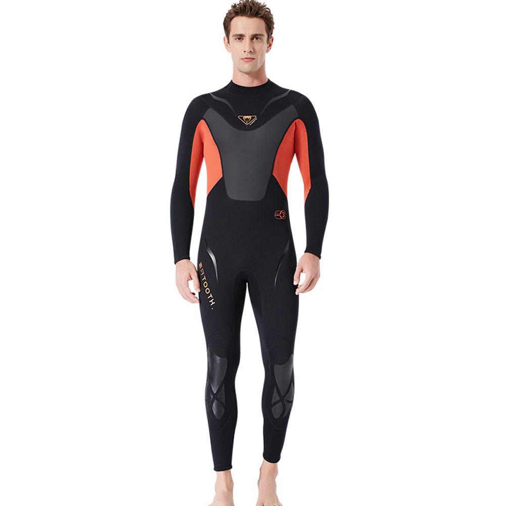 3MM Diuving Suit Men Wet-type Siamese Warm Long Sleeve Cold-proof WInter Surfing Swimwear Black/orange_L