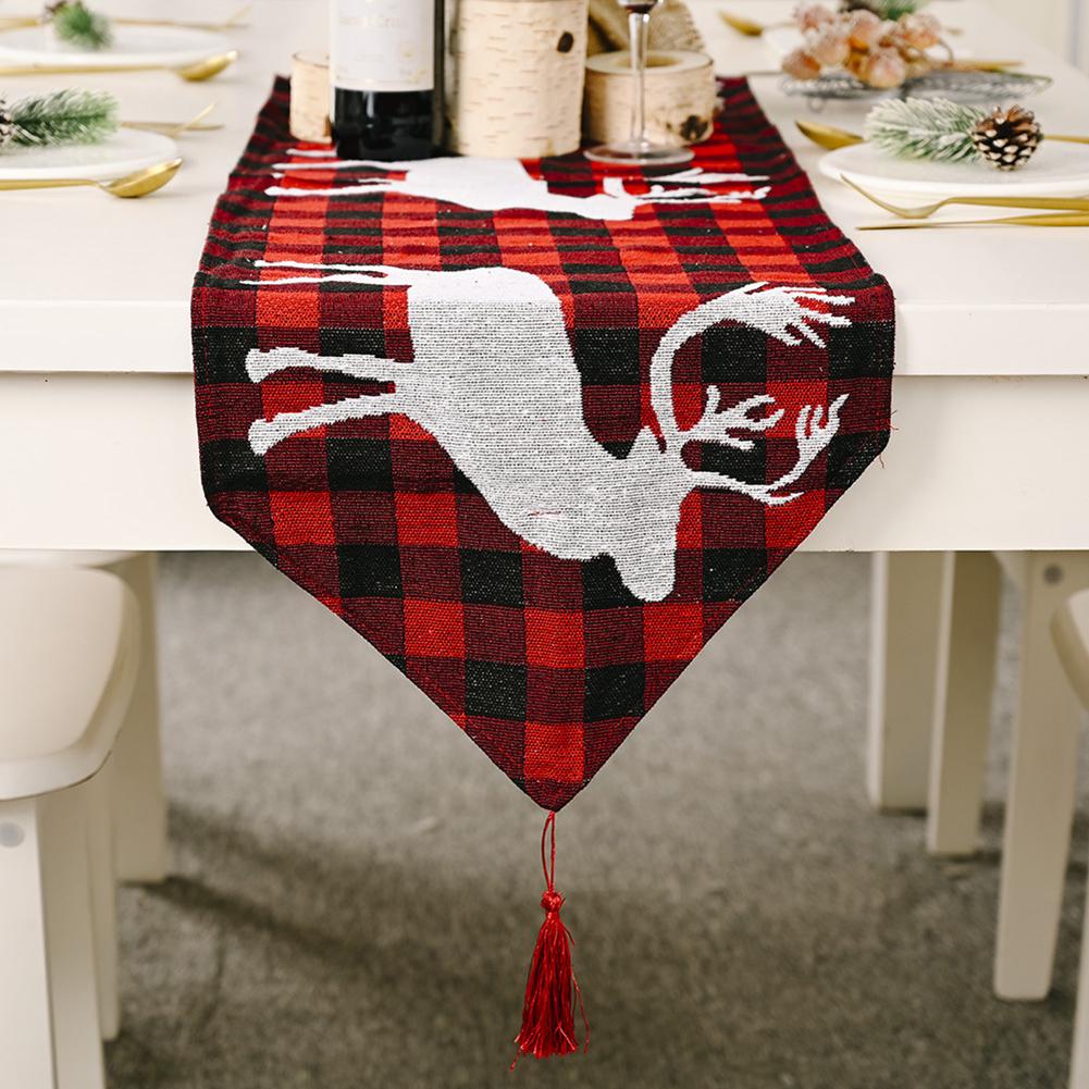 Red  Snowman Long  Table Runner Cloth Non-slip  Table Runner  Home Party Decor Elk 2#