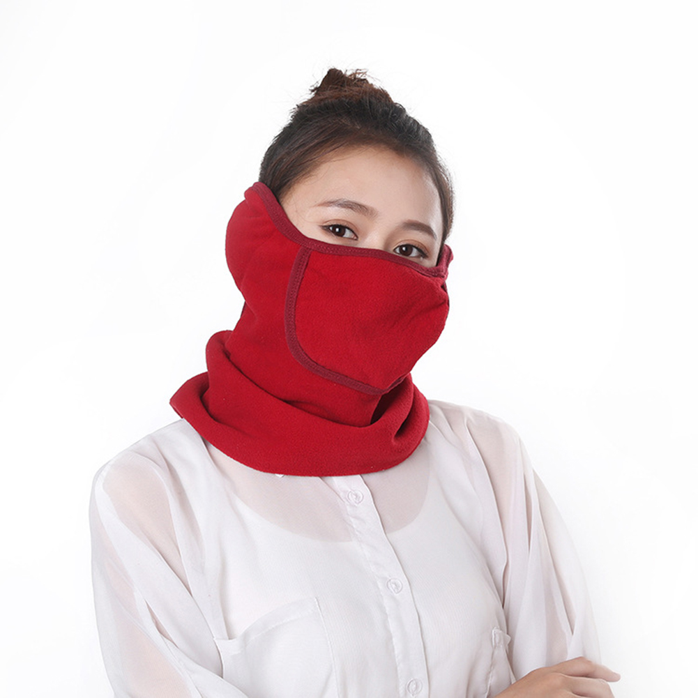 3 in 1 Outdoor Full Face Mask Neck Cover Earmuff Dustproof Warm Mask for Winter Red wine