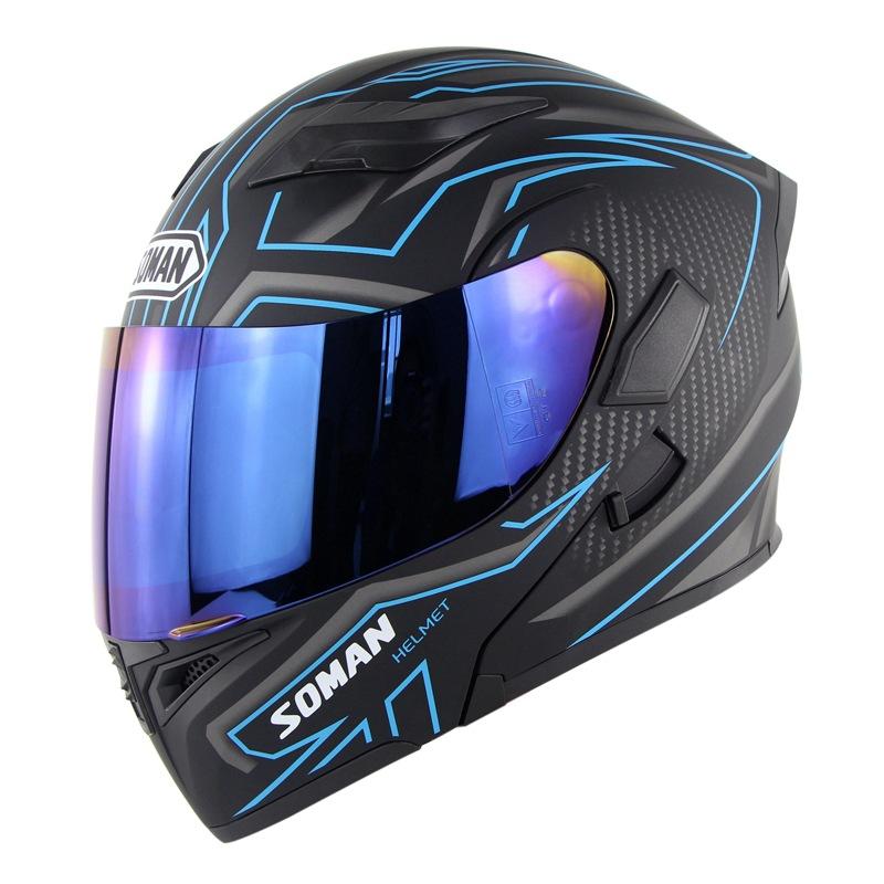 Unisex Double Lens Flip-up Motorcycle Helmet High Strength Safety Helmet Matte black blue with blue lens_M