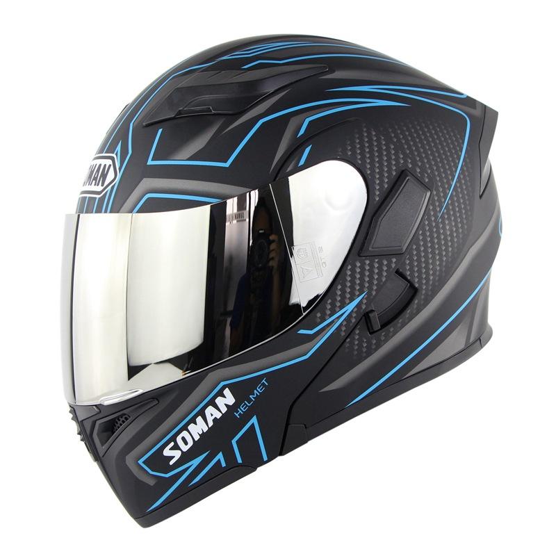 Unisex Double Lens Flip-up Motorcycle Helmet High Strength Safety Helmet Matte black blue with silver lens_L