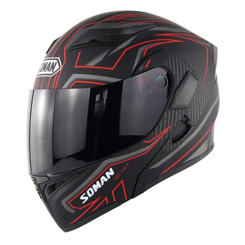 Cool Unisex Double Lens Flip-up Motorcycle Helmet Off-road Safety Helmet Line red with tea  lens_M