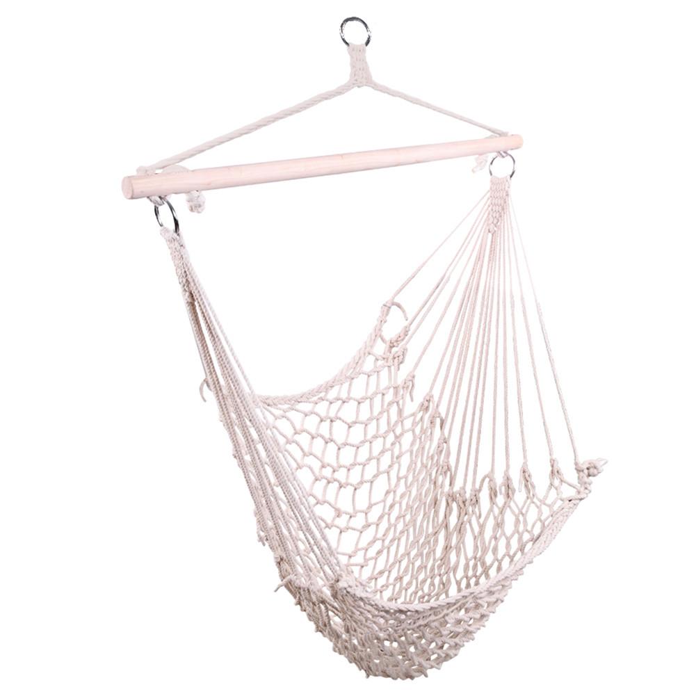 [US Direct] Cotton Rope Hanging  Chair Sky Chair Swing For Indoor Outdoor Garden Yard Beige