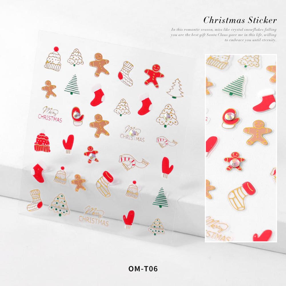 Nail sticker Cartoon Christmas Series Nail Art With Diamond Stickers 3d Santa Snowflake Nail Decoration Stickers 3D Christmas model with diamond sticker-06