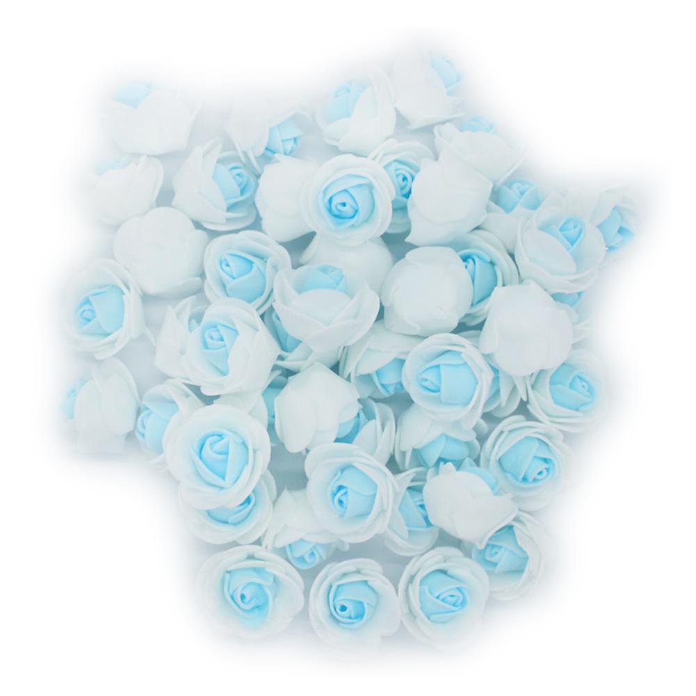Lingstar 100PCs 3CM White + Blue Artificial Rose Head Flower Beautiful Wedding Home Party Decoration Bridal Hair Decorative