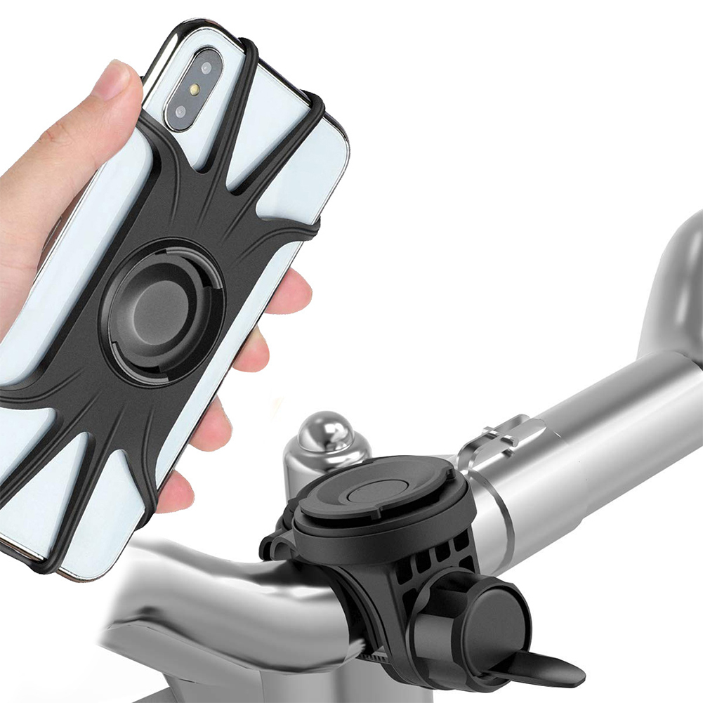 Mobile Phone Holder for Bicycle Motorcycle Universal Phone Bracket Anti-drop Anti-vibration Silicone Magnetic 360 Degree Rotation Black