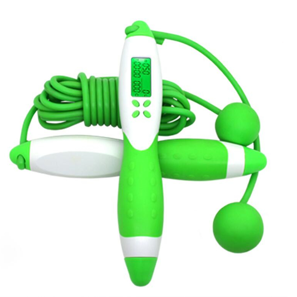 Electronic Digital Adult Skip Rope Calorie Consumption Professional Fitness Body Building Exercise Jumping Rope White and green