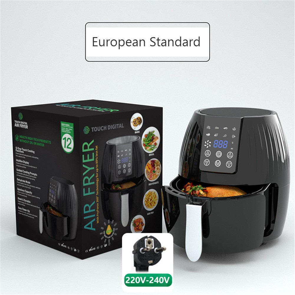Air  Fryer 5.5l Large-capacity Electric Cooker For Kitchen Grill Toaster Roast Reheat Bake Neutral EU Plug Smart