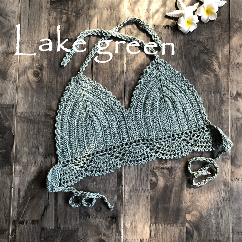 Women Delicate Knit Bikini Tops All-matching Bra Lake Green_L