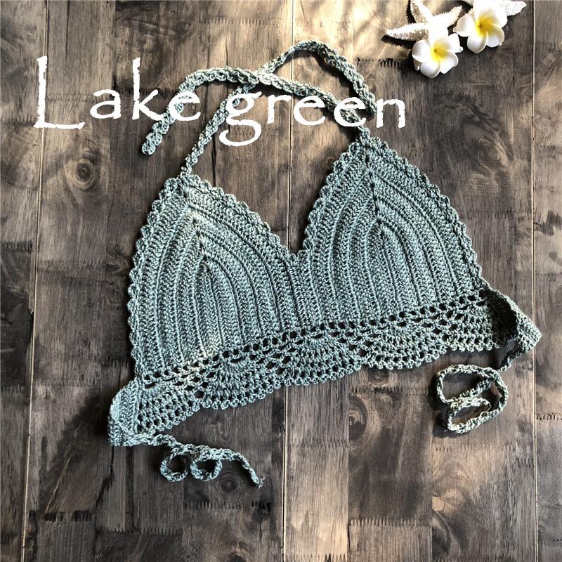 Women Delicate Knit Bikini Tops All-matching Bra Lake Green_S