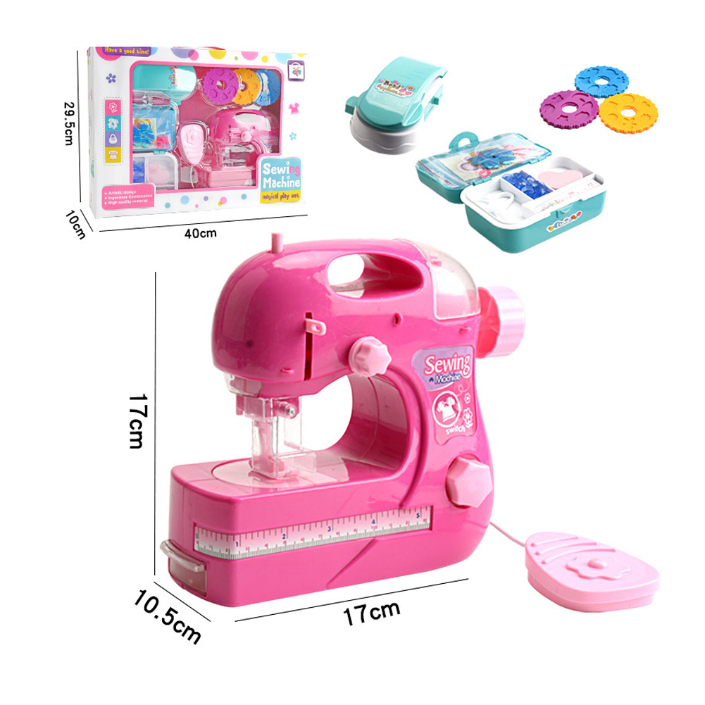 Simulation Children Sewing Machine Toy Kids Mini Furniture Pretend Playing Girl Design Clothing Toys for Educational Gift Large electric sewing machine rose red