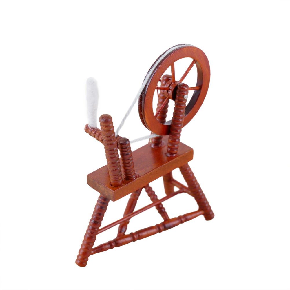 Wooden Environmental Friendly Retro Spinning  Wheel 1:12 Doll House Mini Furniture Accessories coffee