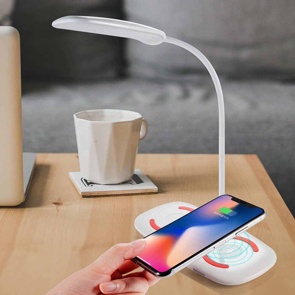 3 in 1 LED Bedside Touch Induction Night Light Table Lamp Wireless Charger white