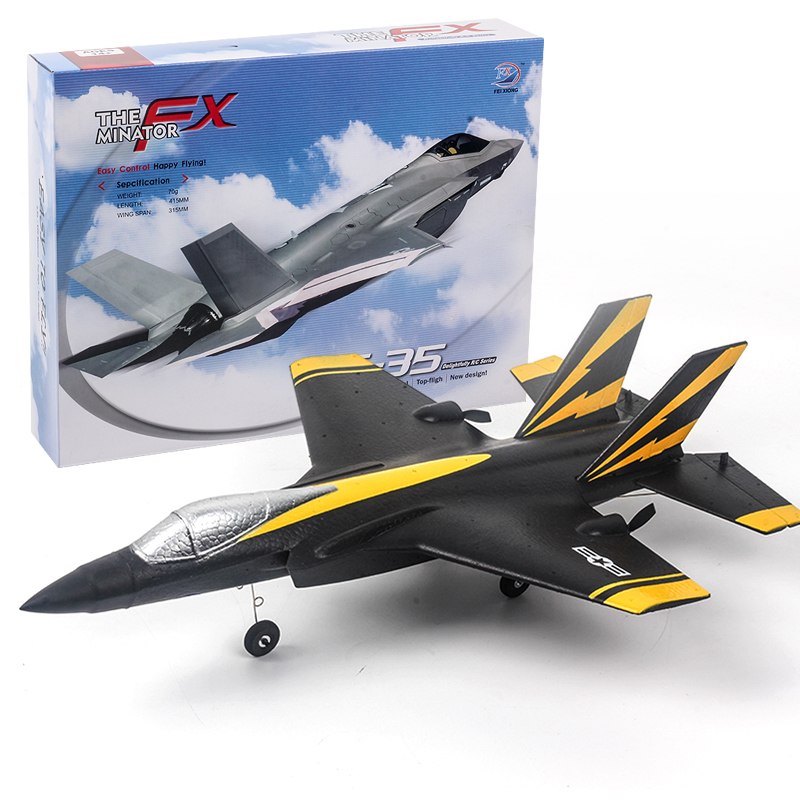 Rc Aircraft Fx935 Four-channel F35 Jet Electric Foam Airplane Toy black