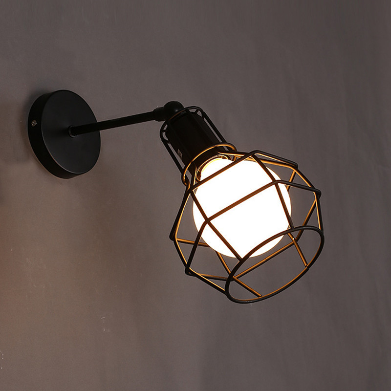 Iron Black Lampshade Wall Lamp Vintage Indoor Bedroom Balcony Corridor Study Lighting Grenade black_Without bulb