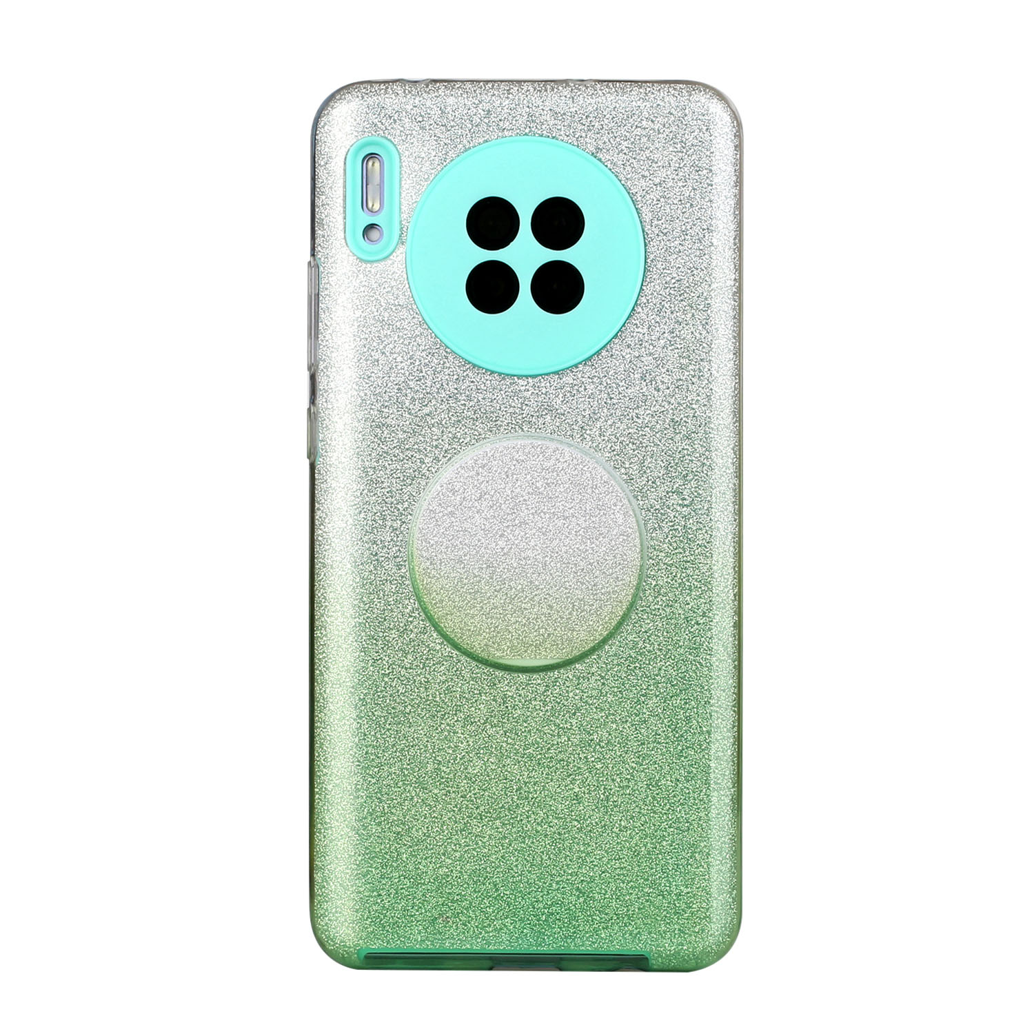 For HUAWEI Mate 30/Nova 5I pro/Mate 30 Pro/PSmart /Y5P/Y6P 2020 Phone Case Gradient Color Glitter Powder Phone Cover with Airbag Bracket green