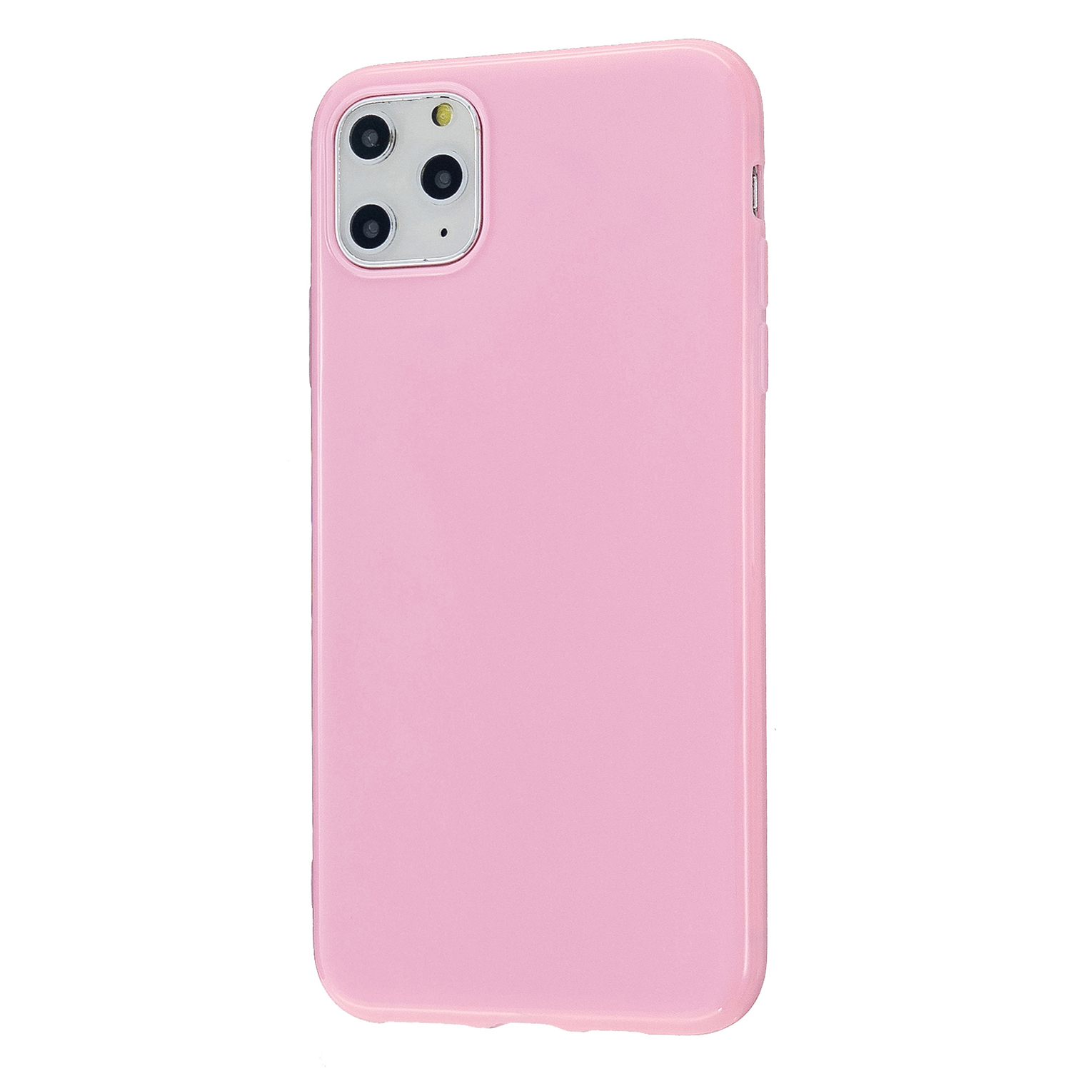 For iPhone 11/11 Pro/11 Pro Max Smartphone Cover Slim Fit Glossy TPU Phone Case Full Body Protection Shell Rose pink