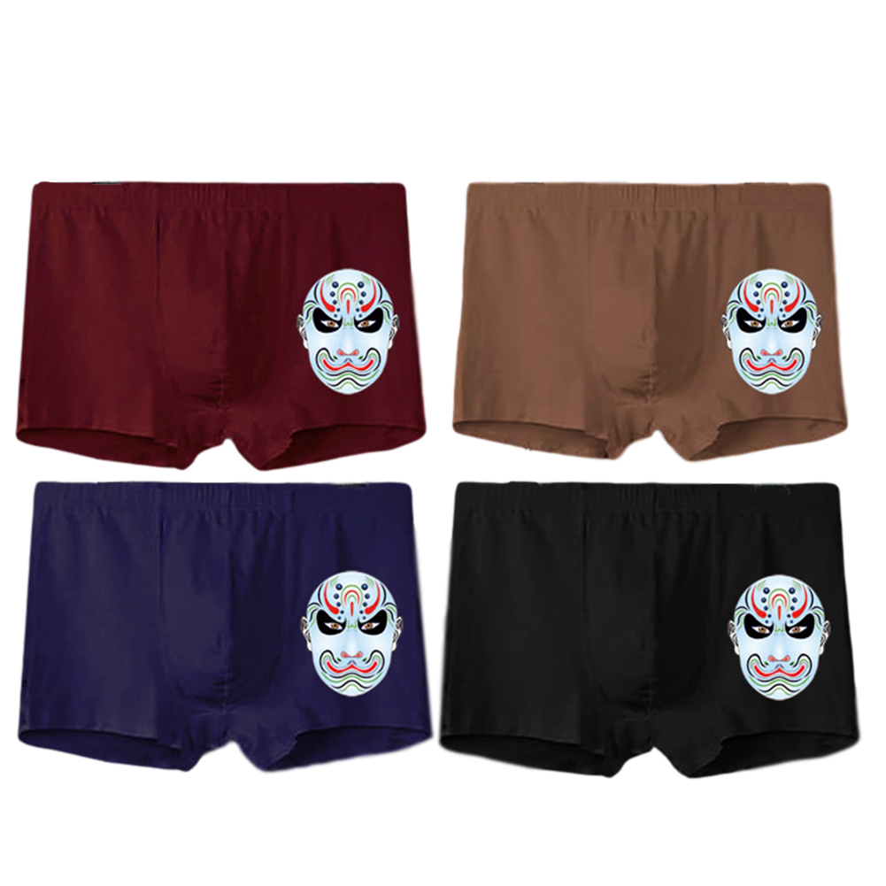 4 Pcs/set Men's Panties Boxer Mid-rise Breathable Youth Boxer Shorts nns0006_4XL