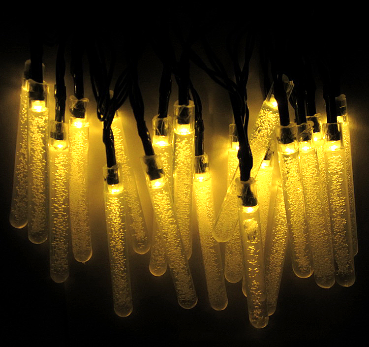 6M 30LEDs Waterproof Solar Powered Icicle Shape String Lights for Outdoor Tree Decor Warm White_(ME0004502)