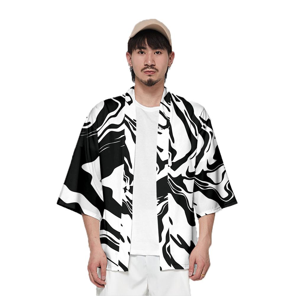 Unisex Fashion Summer Half Sleeve Loose Kimono Thin Sunscreen Robe Clothes V00024-3M25_XL