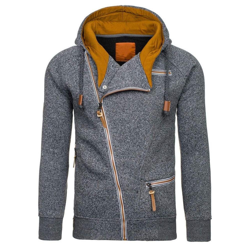 Fashion Men Casual Slanted Zipper Hooded Tops Dark gray_2XL