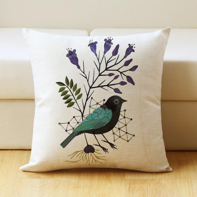 17 inch Bird Print Cushion Cover Cotton Linen Pillow Case Home Bedding Sofa Decoration 44 * 44cm_#7