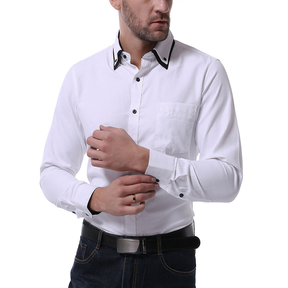 Men Casual Formal Shirt Long Sleeve Cotton Lapel Adults Business Tops White_L