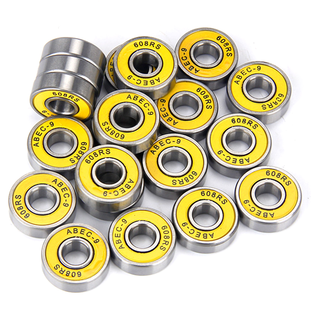 Precision 608 RS ABEC 9 Professional Ball Bearings Scooters Electric Drills High-speed High-Strength Replacement Bearings Yellow cover ABEC-9