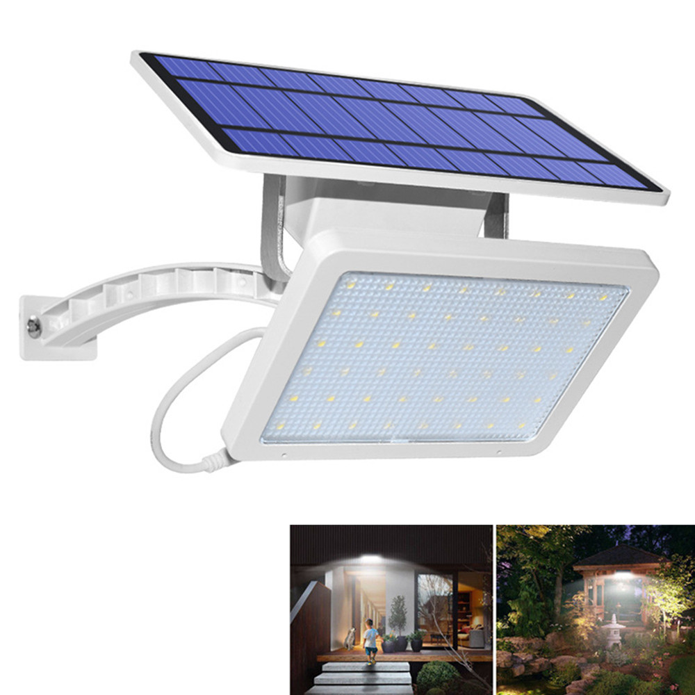 48LEDs Light Control Solar Powered Wall Light for Garden Courtyard Decor White shell white light 6500K