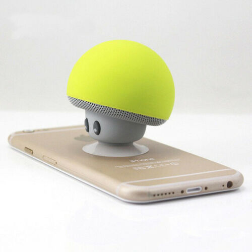 Portable Wireless Bluetooth Mini Cute Mushroom Shaped Audio Speaker Phone Bracket yellow
