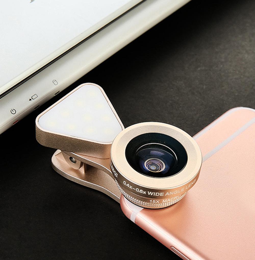 3 in 1 LED Selfie Flash Light Beauty Phone Lens Fill Light 0.4-0.6X Wide Angle 10X Macro Lens Gold