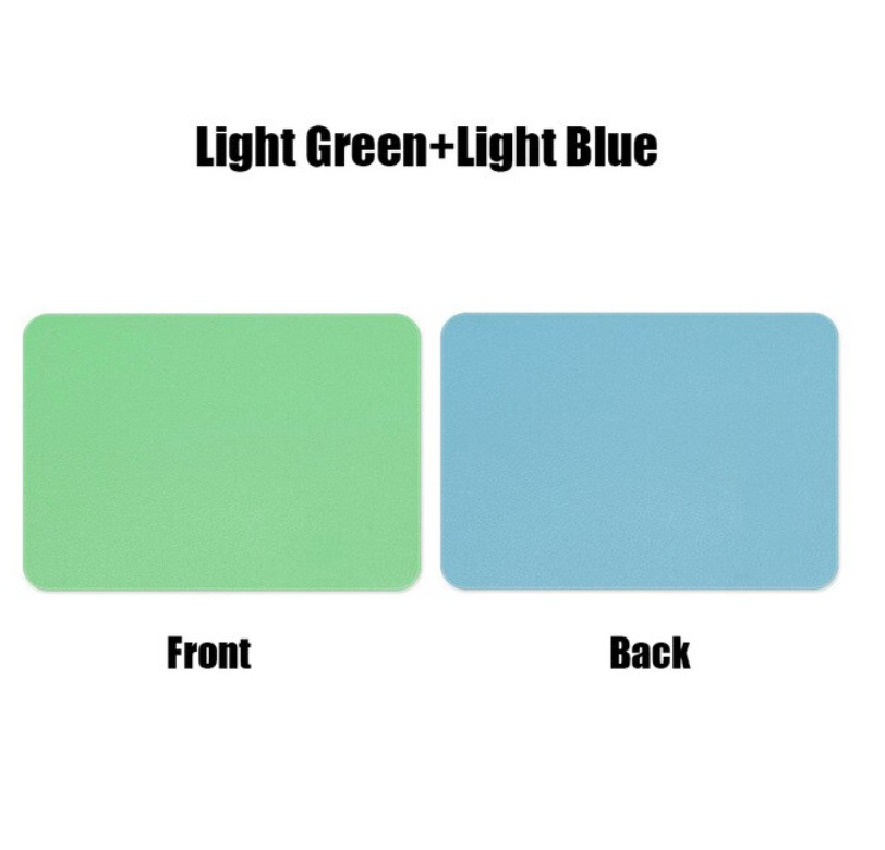 Mouse  Pad  Double-sided  Non-slip Plain Color Waterproof Leather Gaming Mouse Mat Green+blue