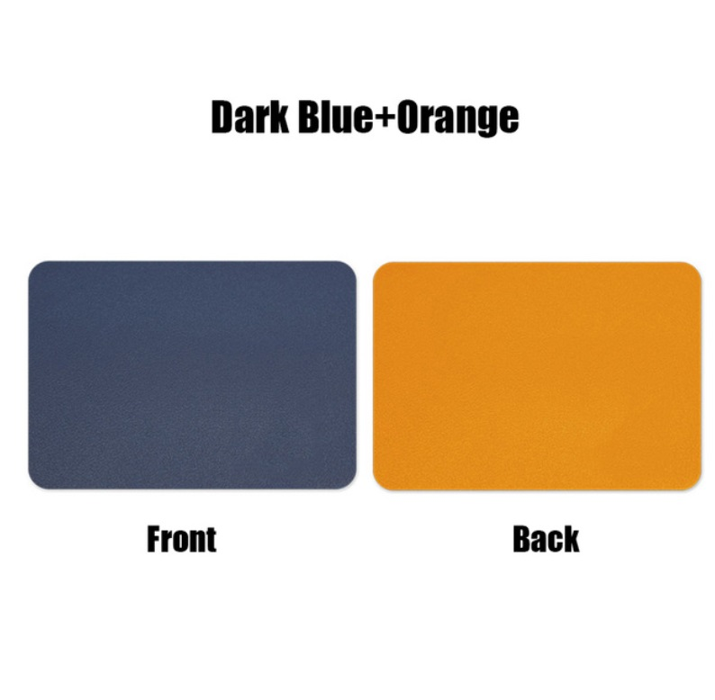 Mouse  Pad  Double-sided  Non-slip Plain Color Waterproof Leather Gaming Mouse Mat Blue+orange