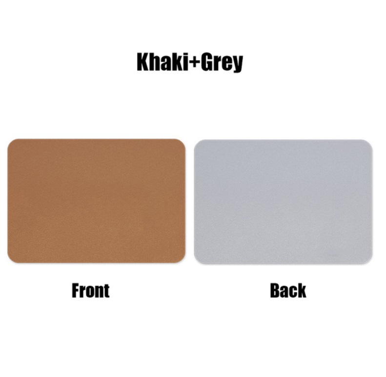 Mouse  Pad  Double-sided  Non-slip Plain Color Waterproof Leather Gaming Mouse Mat Brown+grey