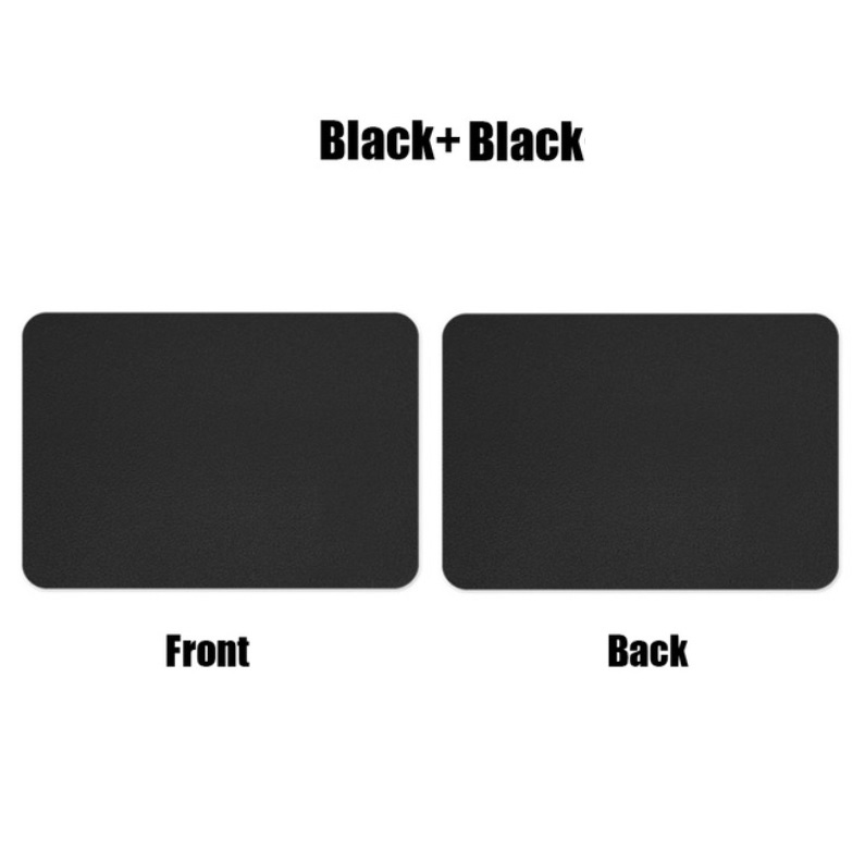 Mouse  Pad  Double-sided  Non-slip Plain Color Waterproof Leather Gaming Mouse Mat Black+black