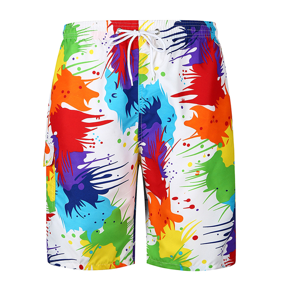 Men Vivid Colorful Large Size Beach Shorts Breathable Quick-drying Fashion Shorts as shown_M
