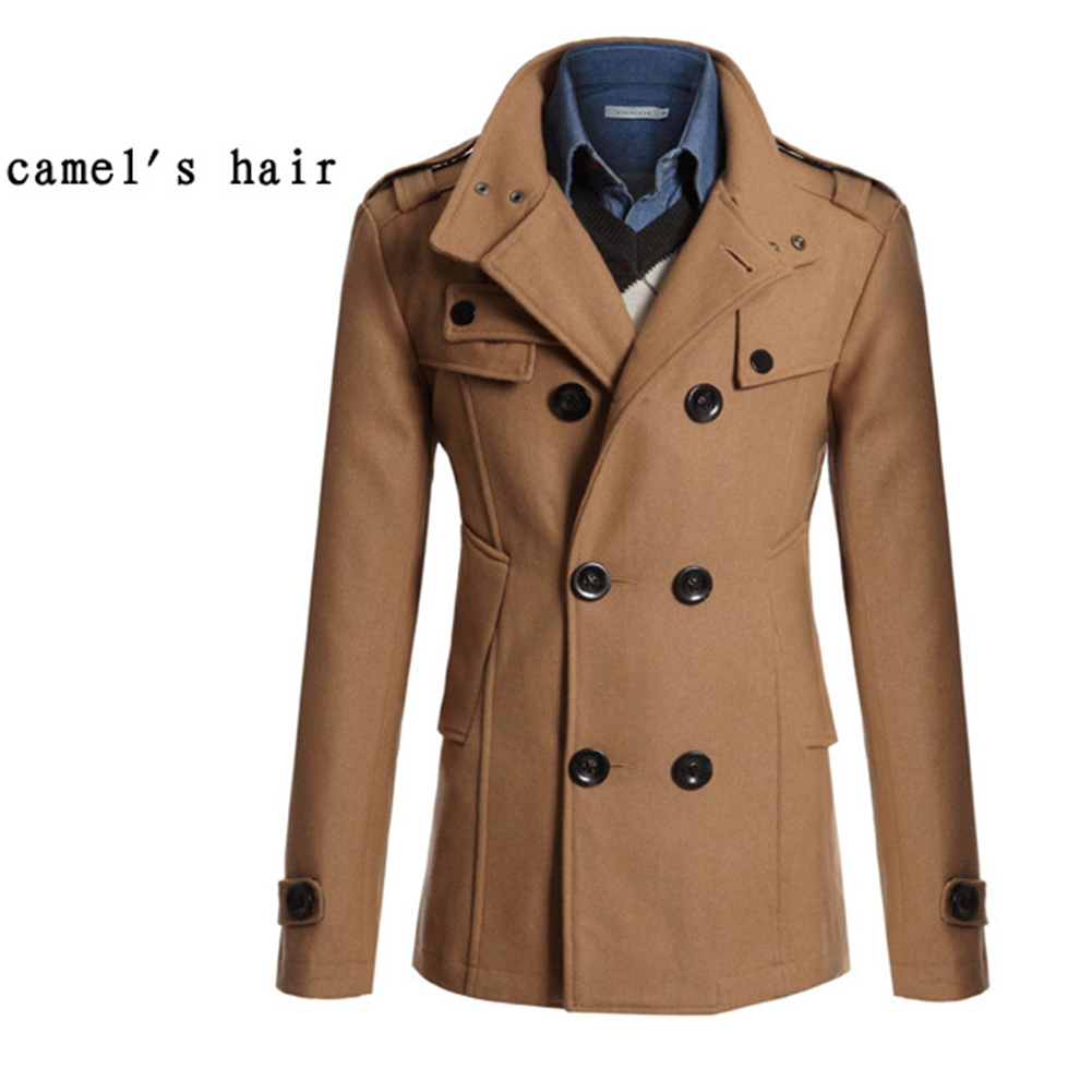 Men Winter Warm Trench Coat Reefer Jackets Solid Color Stand Collar Double Breasted Peacoat Camel_2XL