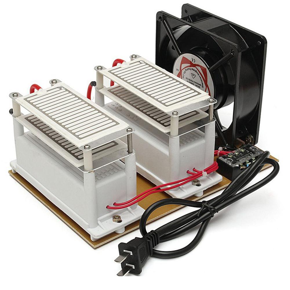 220V 20G Portable Ozonizer Purifier Ozone Generator Air Sterilize Purifier for Home Car European Plug Black and white