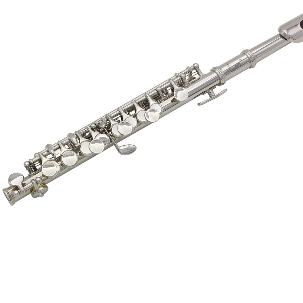 Delicate Piccolo Short Flute Plated 16 Sound Holes C Key Cupronickel with Leather Box+Cleaning Cloth+Screwdriver  silver