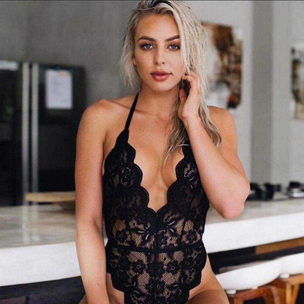 Women Lingerie Plus Size Sexy Hot Erotic Dress Lace Porno Underwear Transparent Sex Costumes black_XL