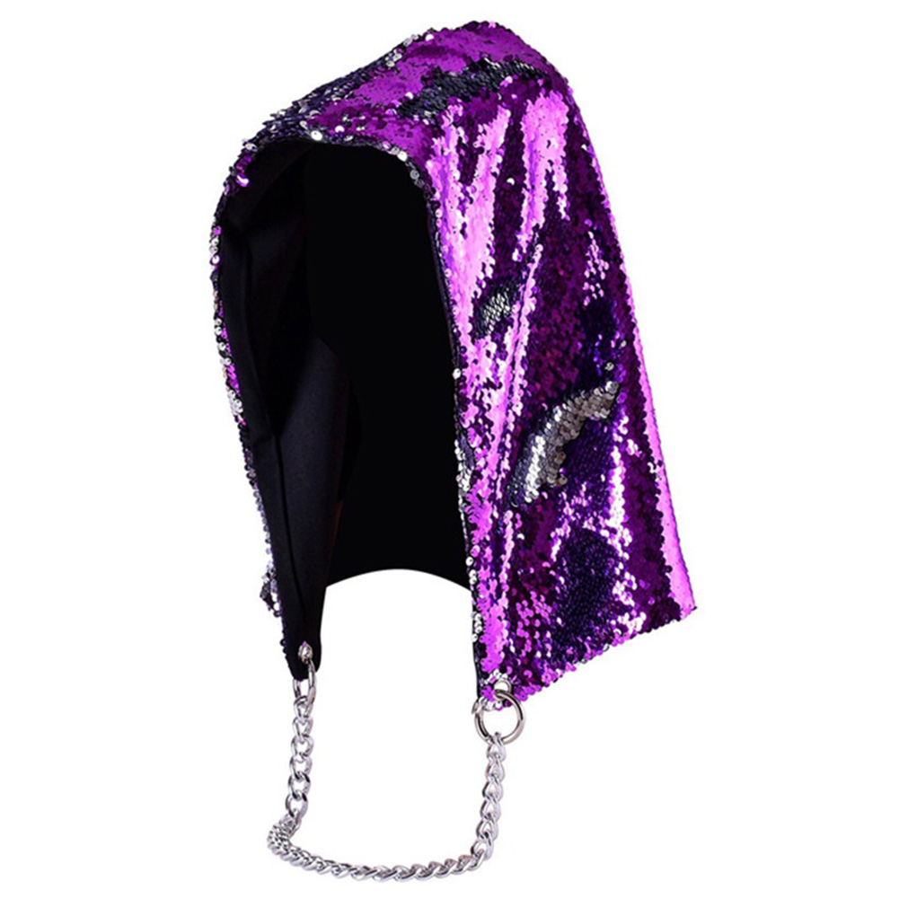 Unisex Fashion Mermaid Hat Magical Reversible Sequin Cap Hood Dress Up Color Changing Hat Purple black_free size