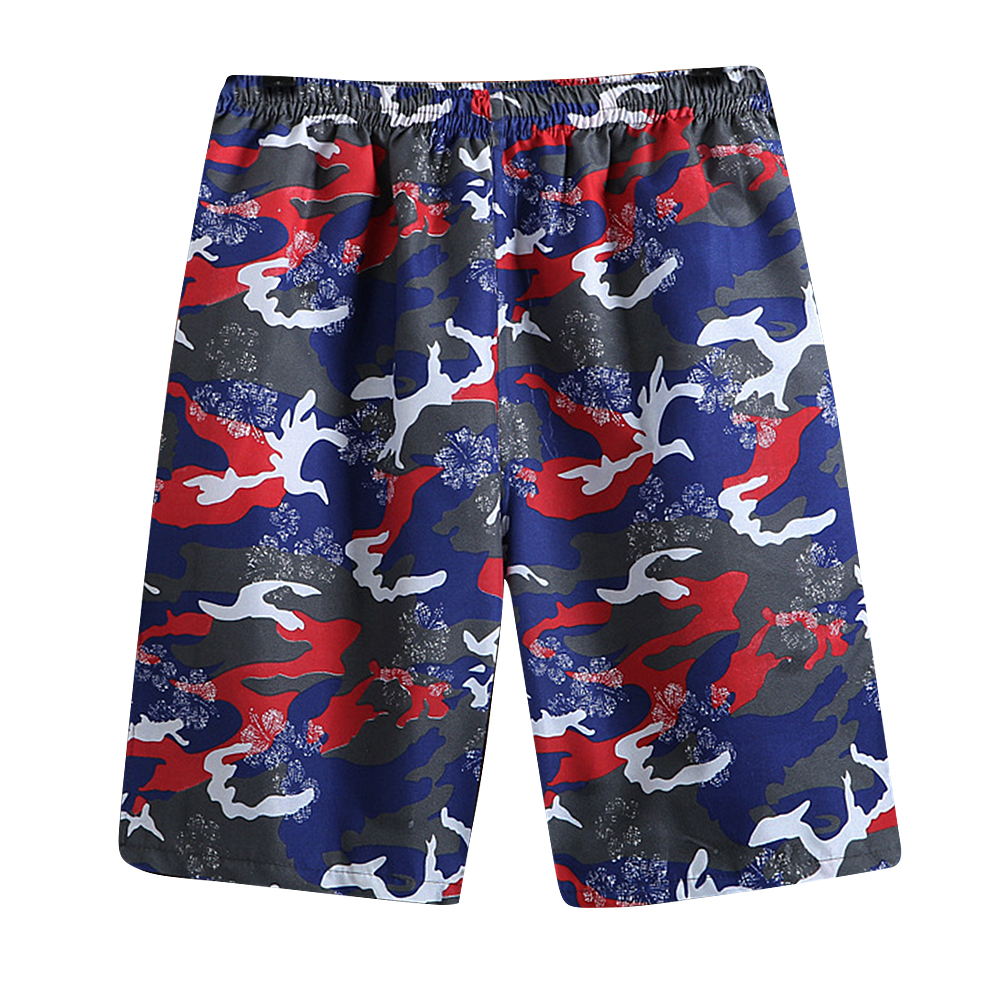 Men Casual Loose Colorful Printing Quick Dry Beach Shorts Army gray camouflage_One size