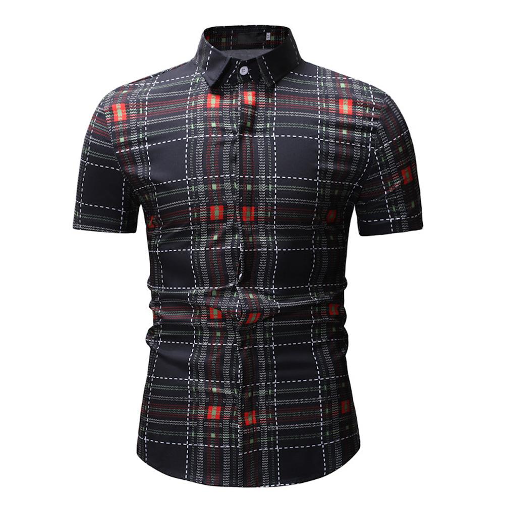 Men Spring Summer Short Sleeve Plaid Casual Slim Shirt Tops black_XXL