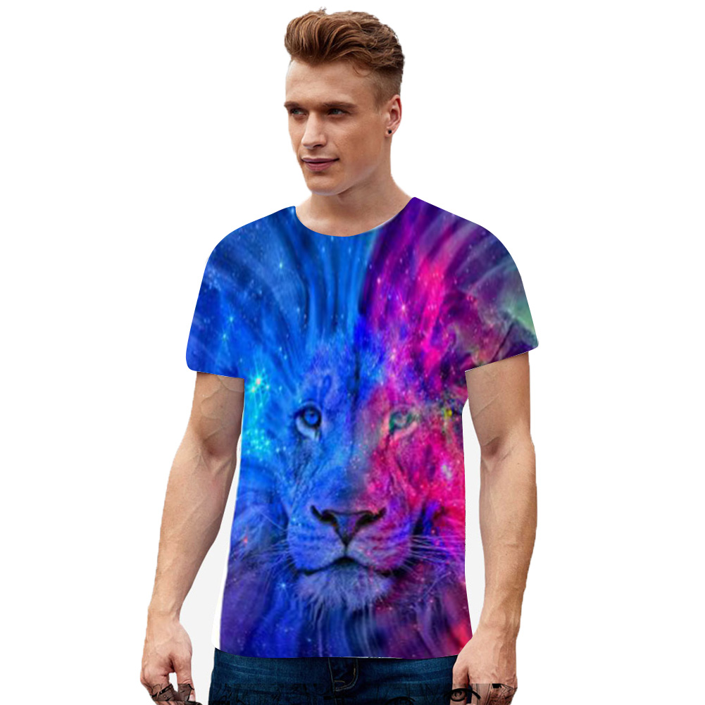 Unisex 3D Lion Digital Printed Short Sleeve T-shirt  white_3XL