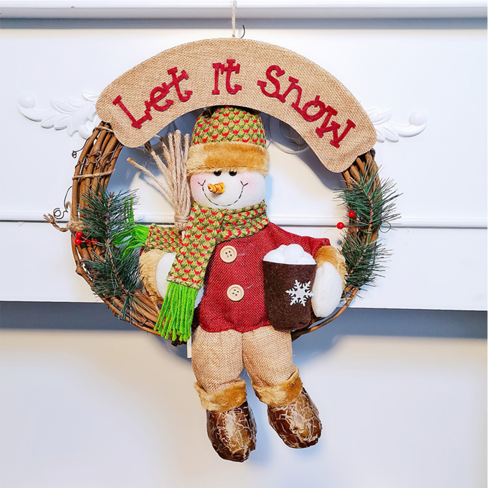 Rattan Wreath Christmas  Pendant Santa Claus Snowman For Hotel Home Decoration Snowman big wreath