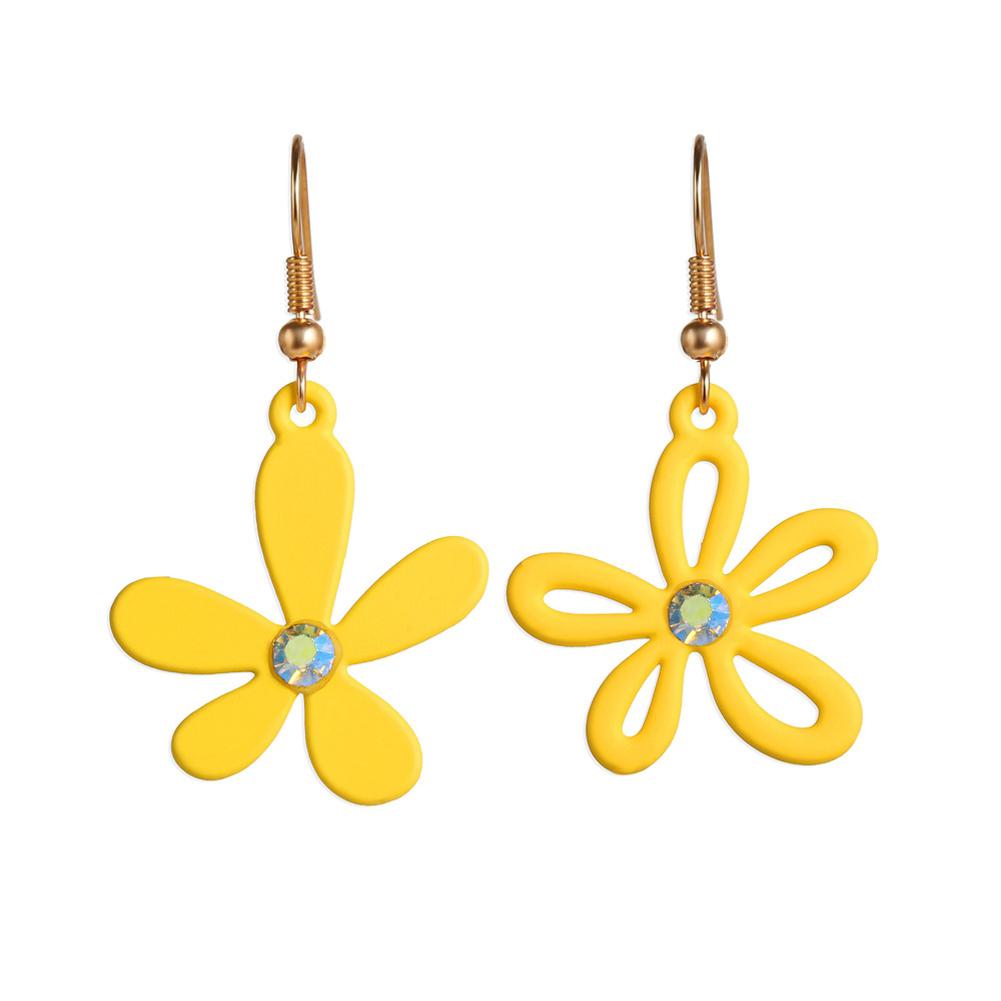 1 Pair Women Earrings Asymmetry Floral Daisy Fresh Alloy Eardrop Jewelry yellow