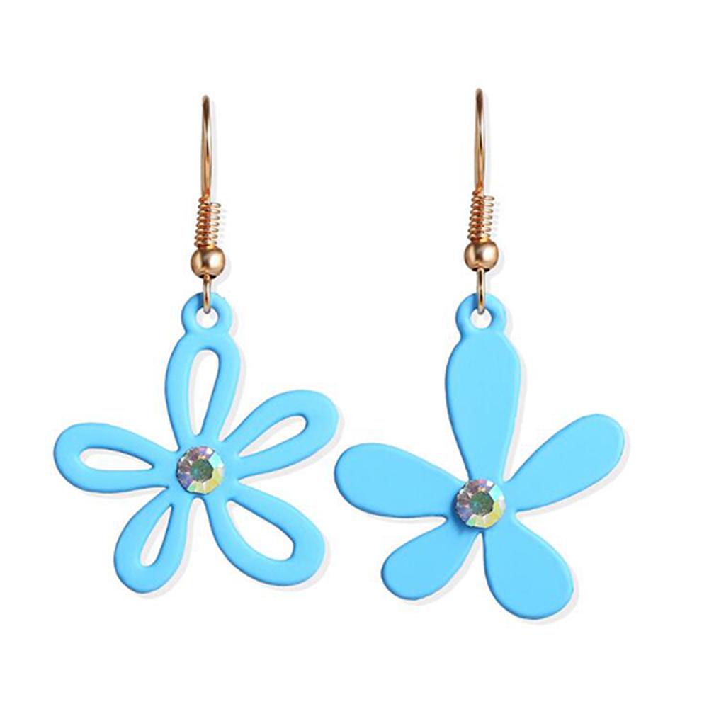 1 Pair Women Earrings Asymmetry Floral Daisy Fresh Alloy Eardrop Jewelry blue